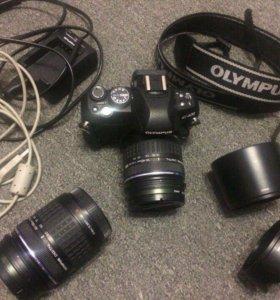 Зеркал.фотоаппар.Olympus e-v420 + обьектив+бленды