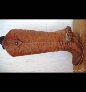 Кожаные демисезонные сапоги с вышивкой и ремнем 37