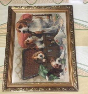 Картины вышитые в ручную крестиком
