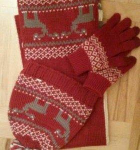 Шапка,шарф,перчатки Luhta
