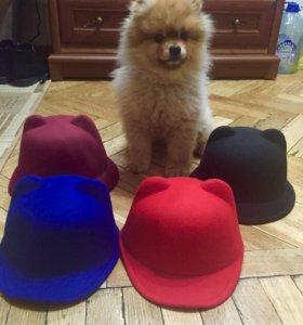 Фетровые кепочки с ушками и шляпка