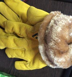 Перчатки рабочие кожа зимние