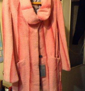 Розовый полушубок- пальто из козлёнка