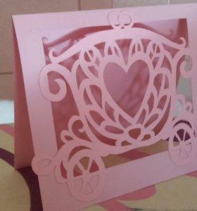 """открытка """"Свадебная карета"""""""