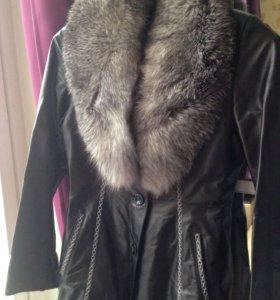 Куртка из натуральной кожи + нат. мех песец