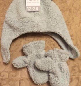 Новый комплект (шапка+варежки) Carters.