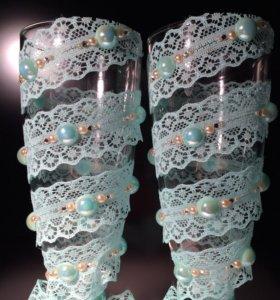 Свадебные бокалы мятного цвета
