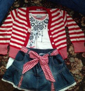 Юбочка джинсовая +футболочка+ кофточка= комплект.
