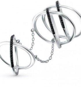 Кольцо на 2 фаланги серебро,фианиты