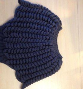Джемпер цвета деним ручной вязки