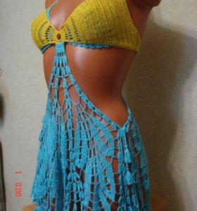 Платье-парео,вязаное пляжное летнее платье.