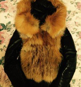 Куртка кожаная с лисьим мехом
