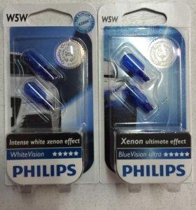 Лампочки W5W Philips под ксенон.