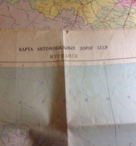 Карта автомобильных дорог СССР Мурманск