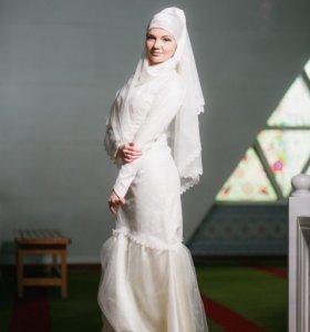 Платье с фатой для никаха