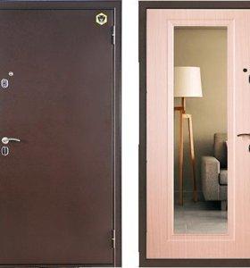 Входная дверь с зеркалом БУЛЬДОРС-12Т с установкой