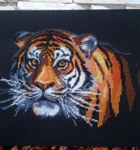 """Картина вышитая крестиком """"Тигр"""""""