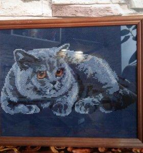"""Картина вышитая крестиком""""Кот"""""""