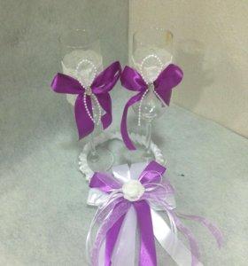 Свадебные бокалы и украшение на бутылки