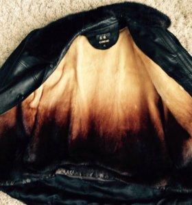 Мужская кожаная меховая куртка( мех норка)