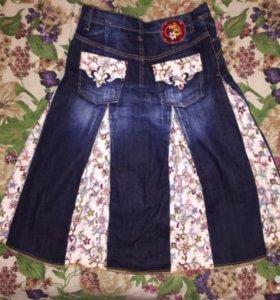 Джинсовая юбка с вельветовыми вставками 42-44