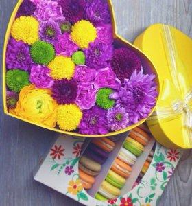 Цветы в шляпных коробках! Букеты' доставка!!!