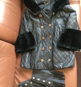 Кожаная куртка Chanel ,с натуральным мехом