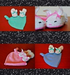 Детские шапочки и пинетки