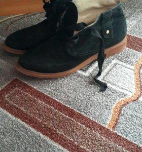 Ботинки замша на шелковых шнурках