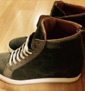 Ботинки новые, натуральная замша, натуральная кожа