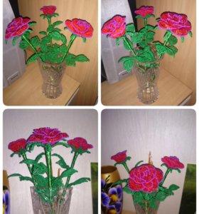Цветы, букеты, деревья из бисера
