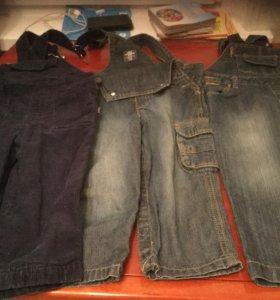 Полукомбинезоны джинсовые р80 и86
