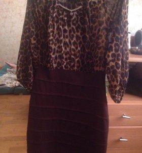 Леопардовое платье body form 40 размера
