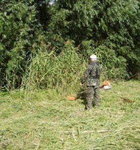 Уборка кладбище, покос травы,спил деревьев.