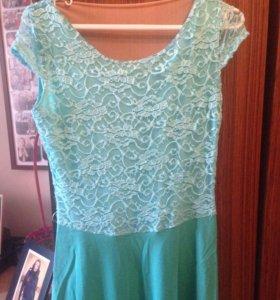 Платье в пол бирюза