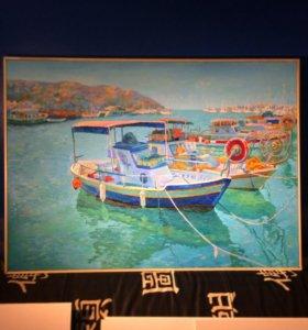 "Картина маслом ""Лодки. Кипр"""