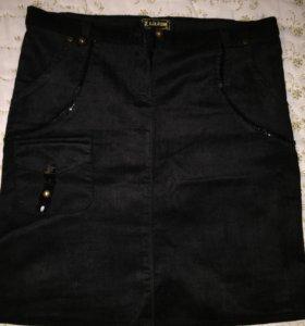 Чёрная юбка велюровая