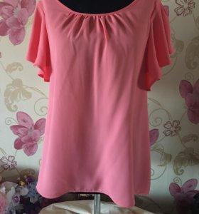 Блузка с воланами на рукавах 48-50