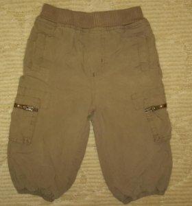 Коричневые брюки на подкладке на 74 см. Б / У