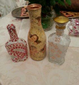 Декупаж, бутылки и вазы в стразах
