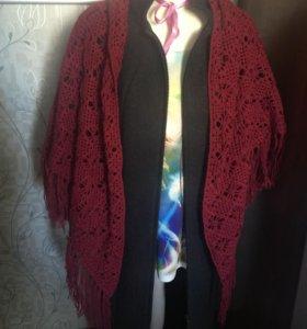 Снуд, шарф, палантин вязаный, треугольная накидкан