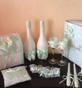 Набор свадебных аксессуаров мятный