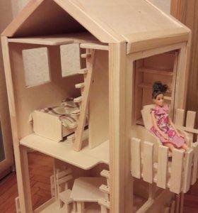 Деревянный домик для барби