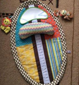 Новый развивающий коврик для малыша с зеркальцем