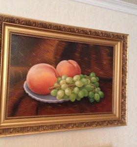 Картина натюрморт с персиками