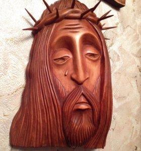 Лик Христа, резьба по дереву