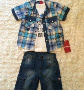 Новый комплект на мальчика( шорты, футболка, рубаш