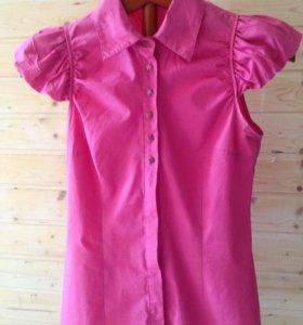 Розовая блузка-рубашка, S