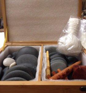 Камни для стоун терапии(базальт)+2холодных камня