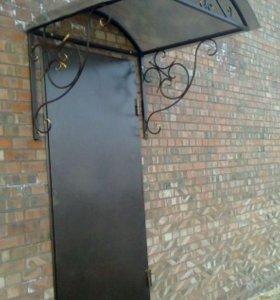 Изготовление дверей (от 15000) и козырьков (4500)